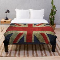 Antique Faded Union Jack UK British Flag Throw Blanket