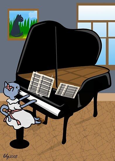 Kitty Piano Practice by elledeegee