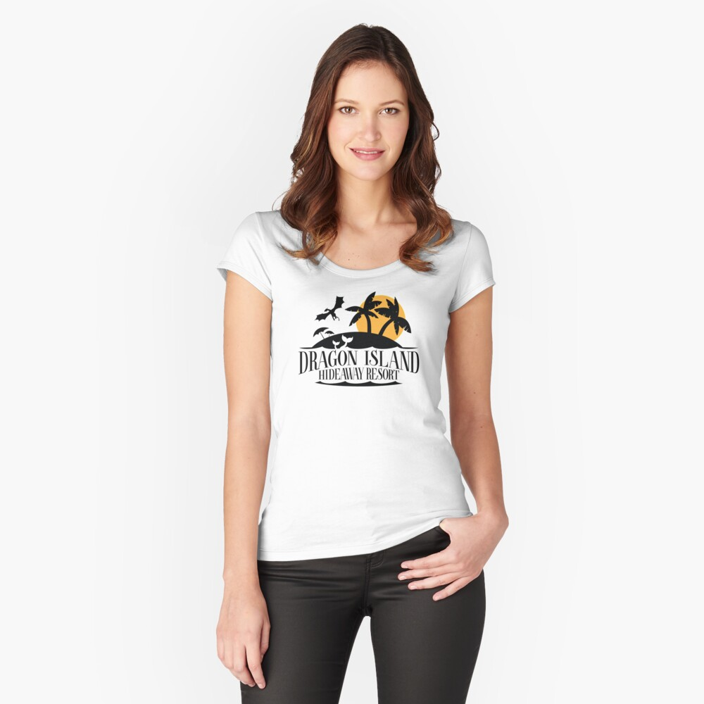 Dragon Island Hideaway Logo - Black and Gold Fitted Scoop T-Shirt