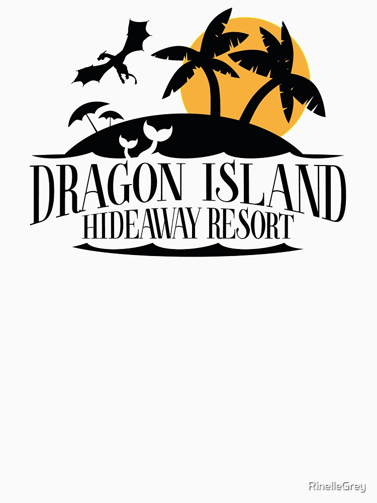 Dragon Island Hideaway Logo - Black and Gold by RinelleGrey
