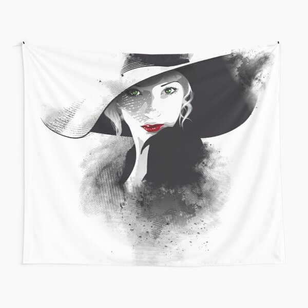 The hat, girl portrait Tapestry
