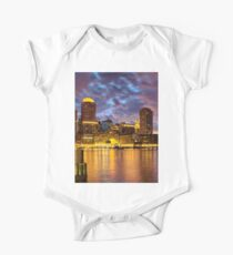Sun dusk over Boston Harbor  One Piece - Short Sleeve