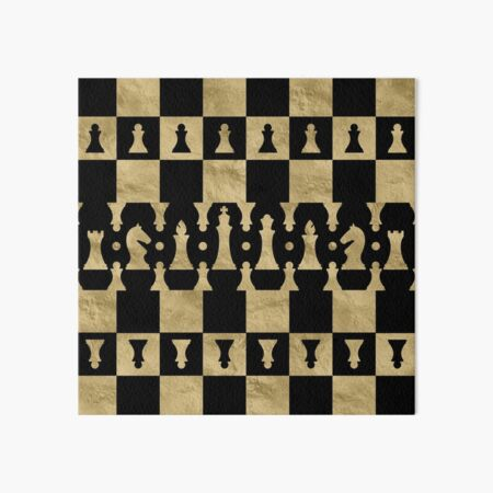 Chess Pieces Pattern - black and gold Art Board Print