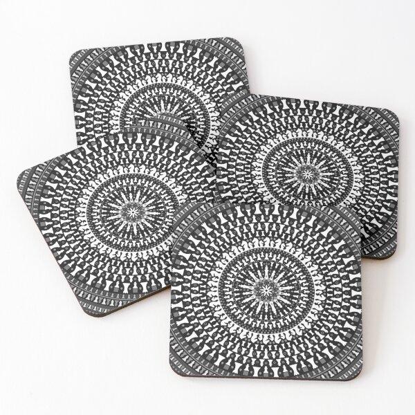 Chess Pieces Mandala - Grayscale Coasters (Set of 4)