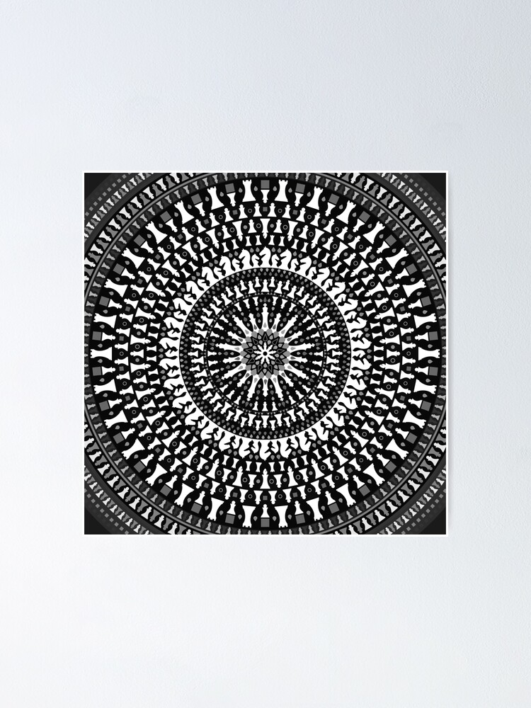 Alternate view of Chess Pieces Mandala - Grayscale Poster
