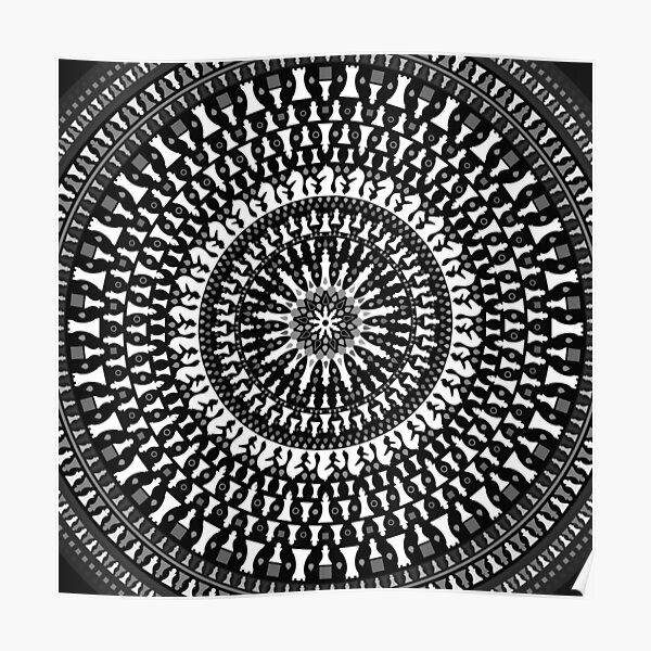 Chess Pieces Mandala - Grayscale Poster