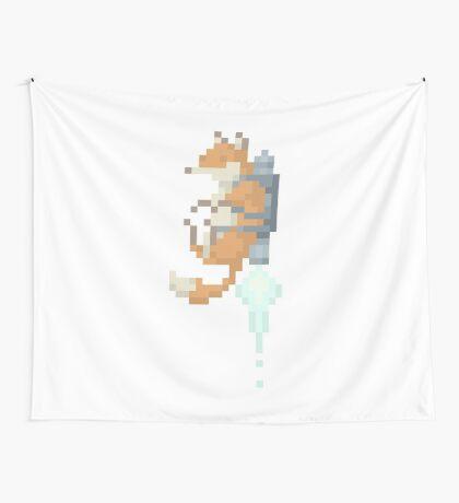 Fox Jetpack Pixel Art Wall Tapestry