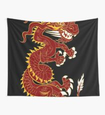 Red Dragon with Golden Style Wall Tapestry