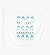 Totoro Winter Pattern - Blue Wall Tapestry