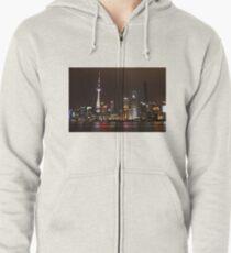 Shanghai Skyline at Night Zipped Hoodie