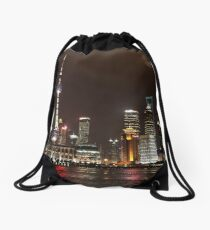 Shanghai Skyline at Night Drawstring Bag