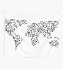 World Map white Wall Tapestry