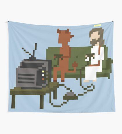Jesus And Devil Playing Video Games Pixel Art Wall Tapestry