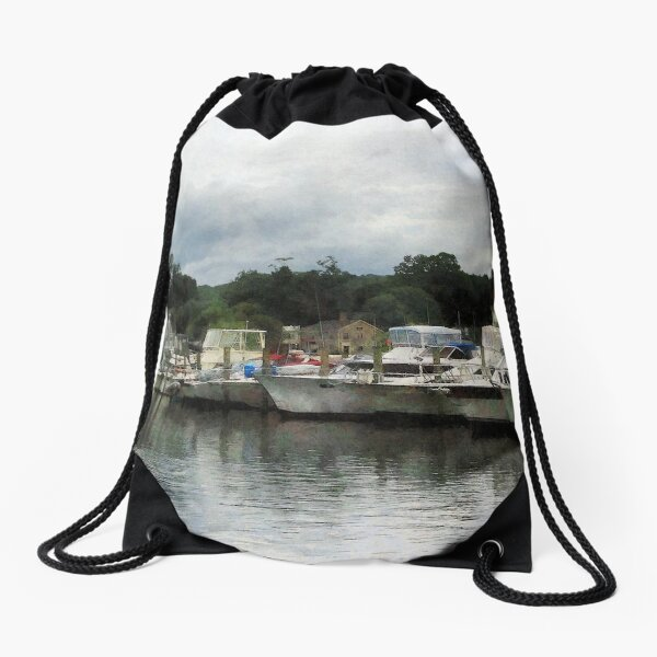 Essex CT - Boats On A Cloudy Day  Drawstring Bag