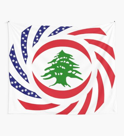 Lebanese American Multinational Patriot Flag Series Wall Tapestry
