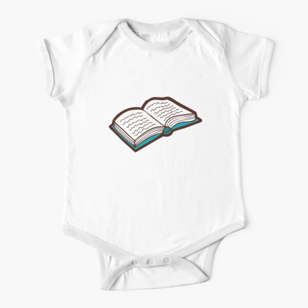 Bookish Reading Pattern in Jade Short Sleeve Baby One-Piece