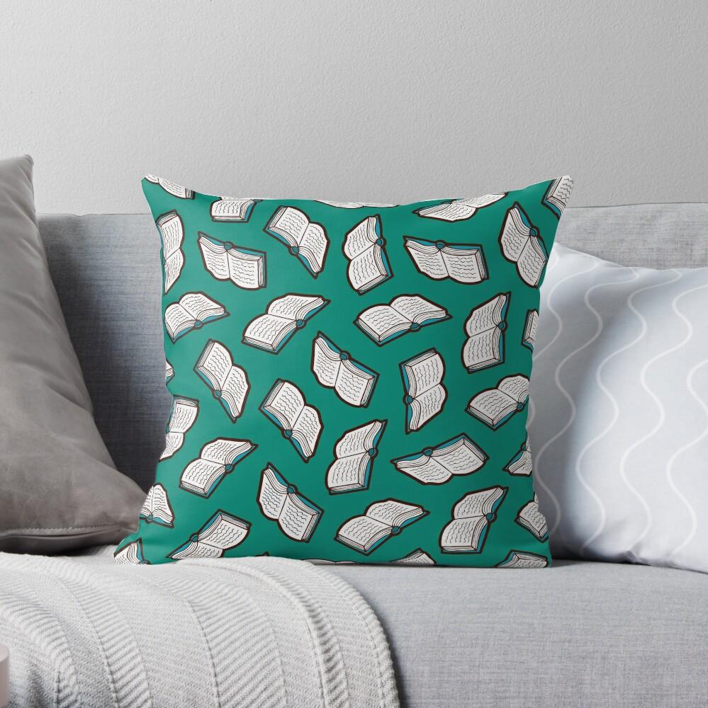Bookish Reading Pattern in Jade Throw Pillow