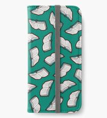 Bookish Reading Pattern in Jade iPhone Wallet/Case/Skin