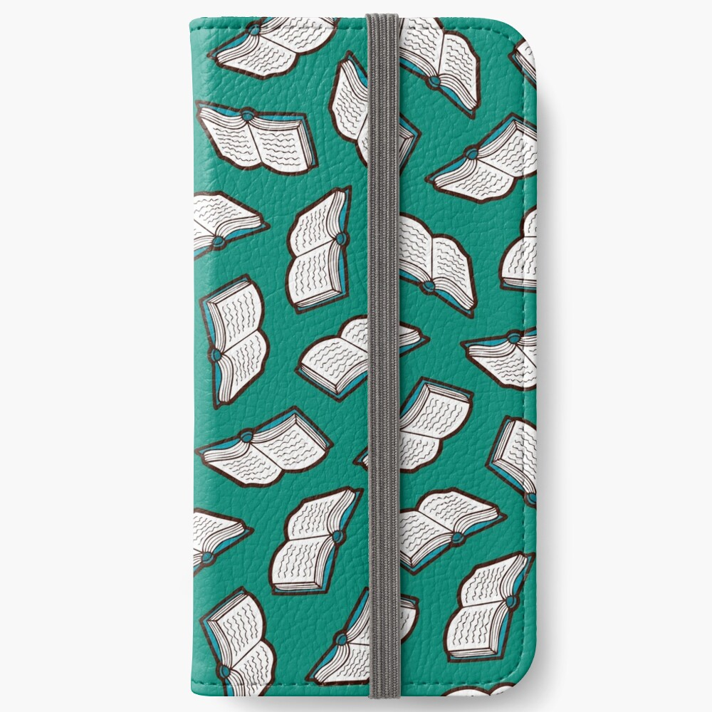 Bookish Reading Pattern in Jade iPhone Wallet