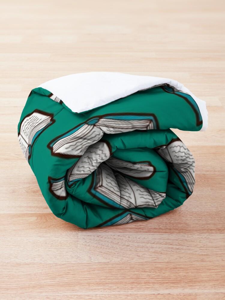 Alternate view of Bookish Reading Pattern in Jade Comforter