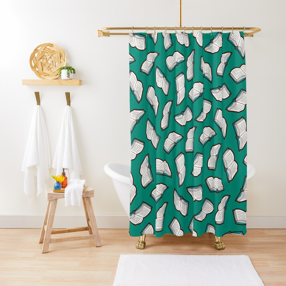 Bookish Reading Pattern in Jade Shower Curtain