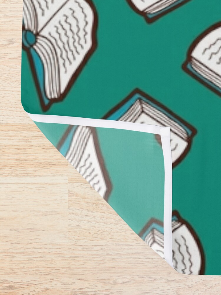 Alternate view of Bookish Reading Pattern in Jade Shower Curtain