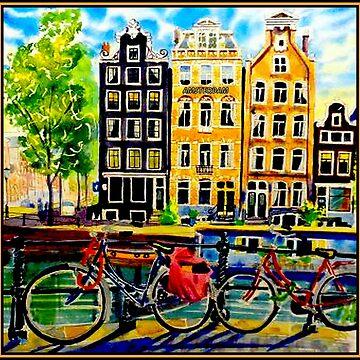 AMSTERDAM: Vintage Fahrraddruck von posterbobs