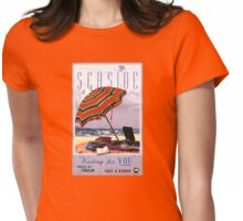 Seaside Australia Vintage Travel Poster Restored Womens Fitted T-Shirt