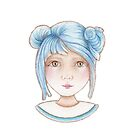 cute girl with blue hair by trudette