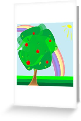 Apple tree and rainbow by Laschon Robert Paul