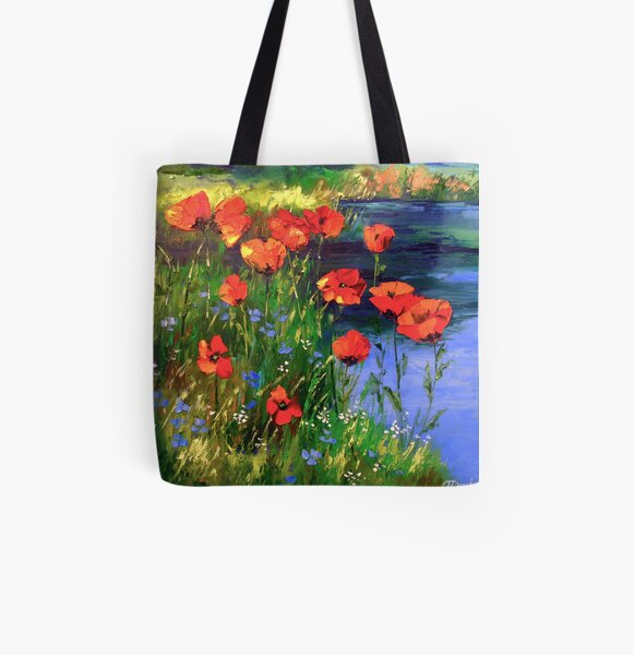 Poppies at the pond All Over Print Tote Bag