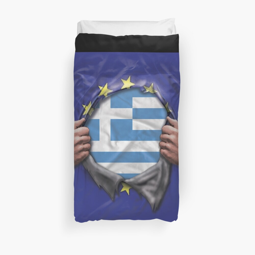 Greece Flag European Union Flag Ripped Open - Gift For Greek From Greece Funda nórdica