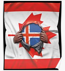 Iceland Flag Canadian Flag Ripped Open - Gift For Icelandic From Iceland Poster