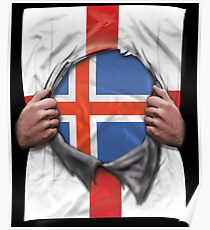 Iceland Flag English Flag Ripped Open - Gift For Icelandic From Iceland Poster
