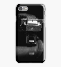 Old style turntable, close-up of a needle iPhone Case/Skin