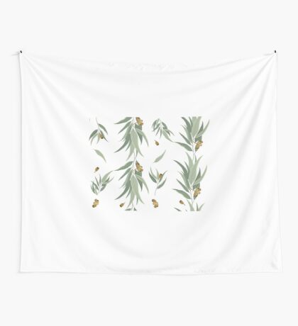 Floral pattern of eucalyptus leaves and seeds Wall Tapestry