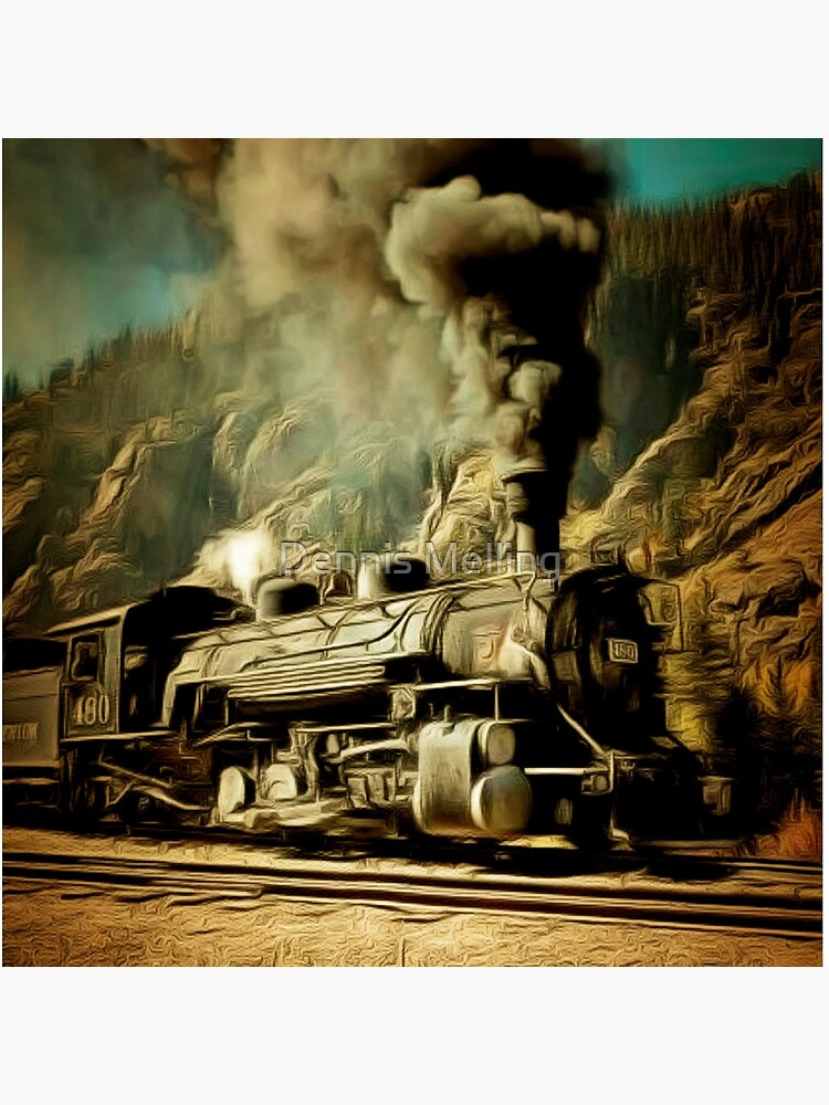 A digital painting of A Durango & Silverton Narrow-Gauge Scenic Railroad Train 1946 by ZipaC