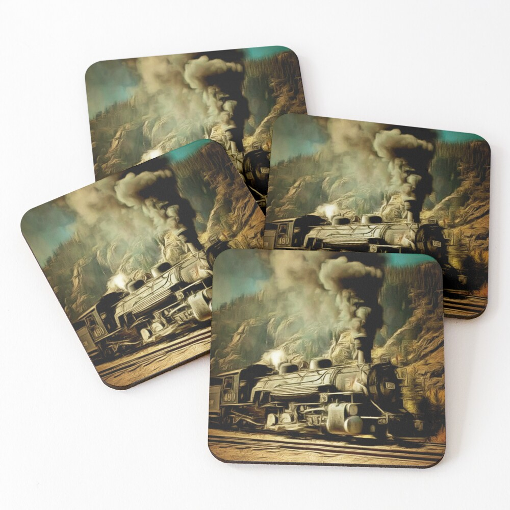 A digital painting of A Durango & Silverton Narrow-Gauge Scenic Railroad Train 1946 Coasters (Set of 4)