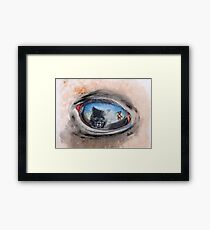 Buffalo Sunset - The challenge between man, horse and wolf... Framed Print