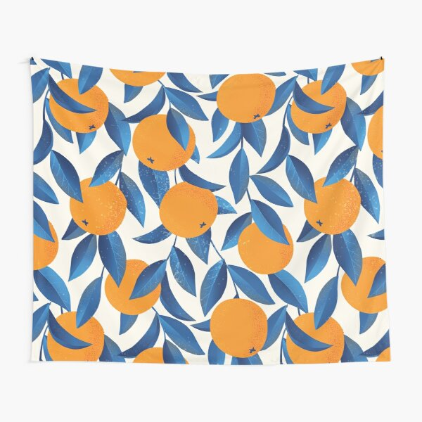 Pattern of oranges and blue leaves Tapestry