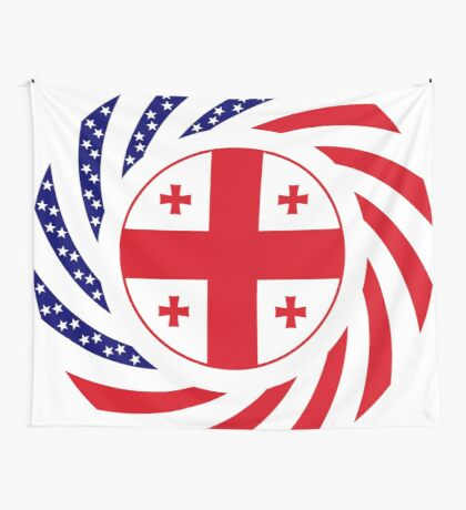 Georgian American Multinational Patriot Flag Series Wall Tapestry