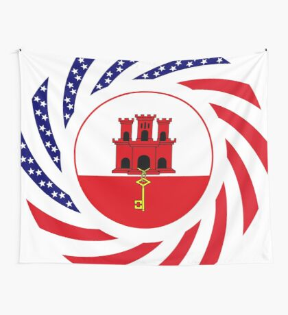 Gibraltarian American Multinational Patriot Flag Series Wall Tapestry