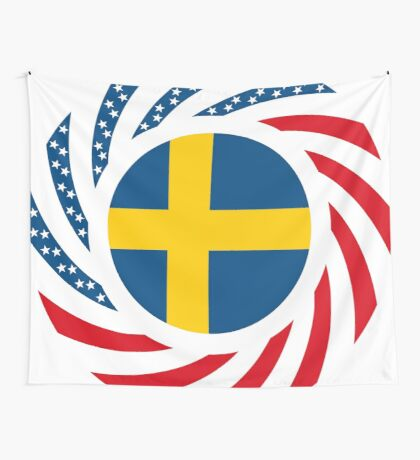 Swedish American Multinational Patriot Flag Series Wall Tapestry