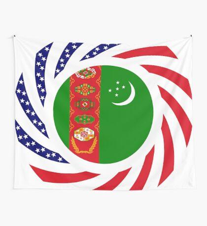 Turkmen American Multinational Patriot Flag Series Wall Tapestry