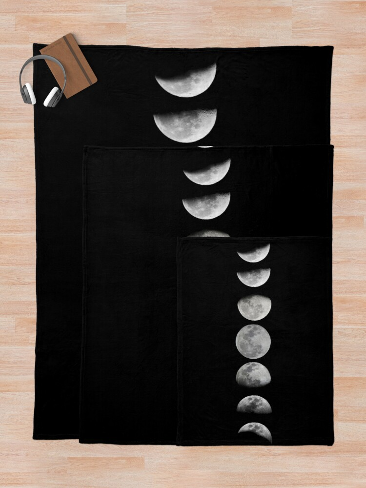 Alternate view of Moon phases Throw Blanket