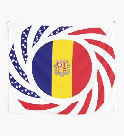 Andorran American Multinational Patriot Flag Series Wall Tapestry