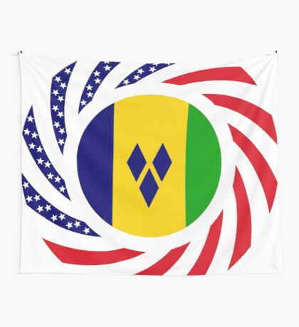 Saint Vincentian American Multinational Patriot Flag Series Wall Tapestry