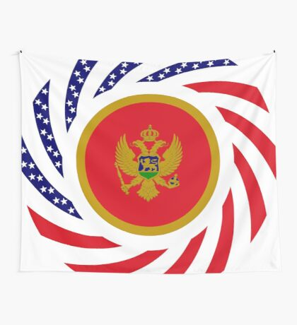 Montenegrin American Multinational Patriot Flag Series Wall Tapestry