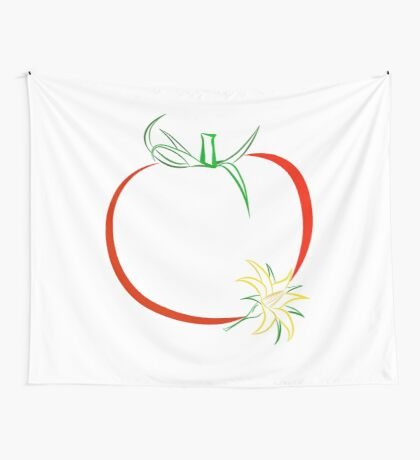 Colour outline of ripe tomato and tomato flower Wall Tapestry