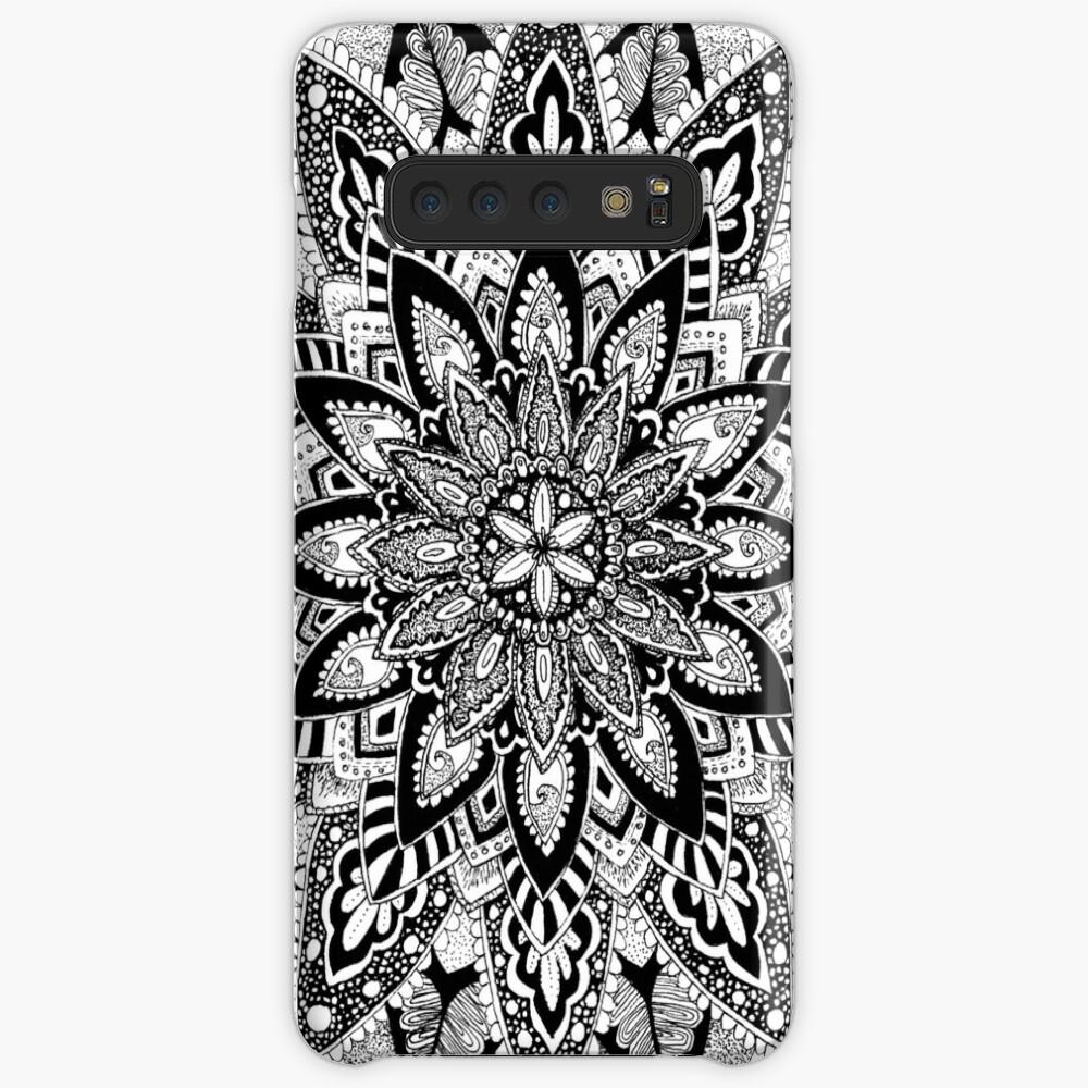 Blumen Mandala Schwarz und Weiß Hülle & Klebefolie für Samsung Galaxy